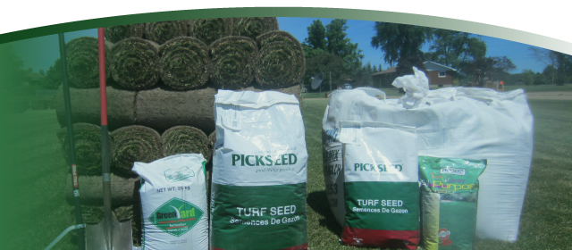 A selection of our sod and grass products, including our new line of bulk bag products